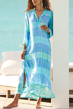Casual Print V Neck Split Maxi Dress
