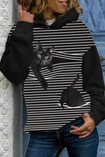 Cartoon Black Cat Striped Print Casual Hoodie