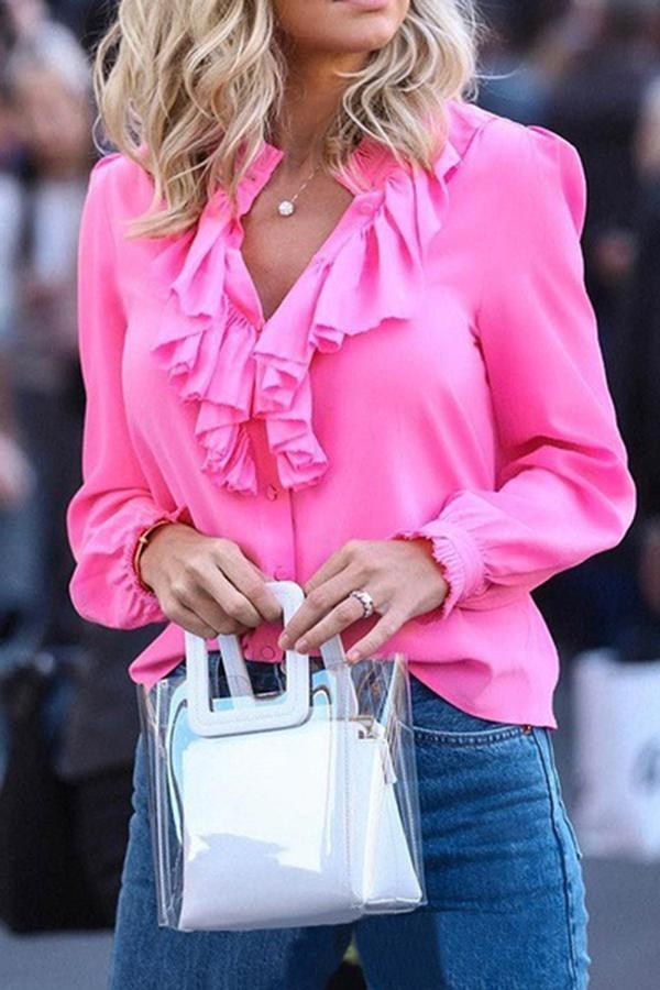 Solid Ruffled Long Sleeves Casual Blouses