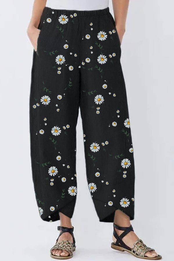 Daisy Print Cross Front Saum Elastic Holiday Wide Leg Hose