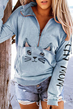 Cat Mom Letter Lovely Cat Face Print Zipper Lapel Collar Pocket Front Sweety Sweatshirt