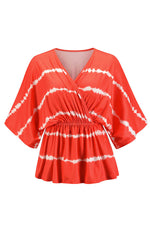 Cross Front V-neck Striped Gradient Print Batwing 3/4 Sleeves Pleated Casual Blouse