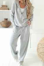 Lässige Solid Hooded Outwears mit Hose Zweiteiliges Set
