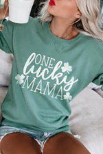 One Lucky Mama Letter Clover Print Sweety Women Sweatshirt