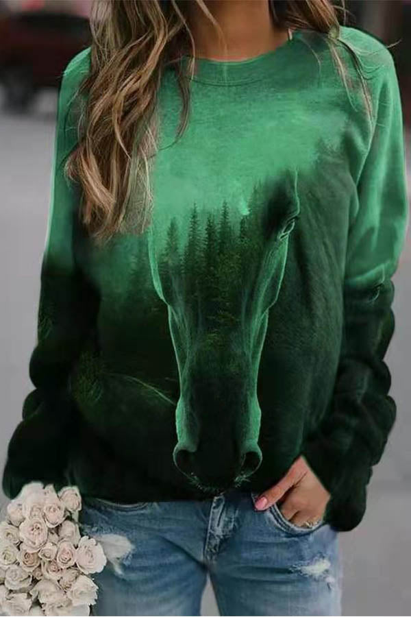 Artistic Abstract Horse With Forest Gradient Print Raglan Sleeves Shift T-shirt