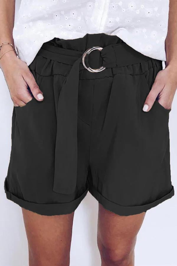Paneled Solid Pleated Side Pockets Shorts