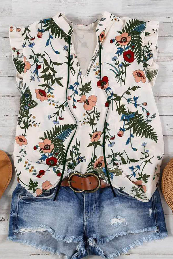 Holiday Floral Print V-neck Drawstring Frill Sleeves Blouse