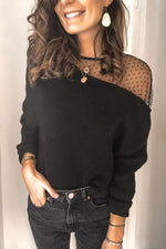 Casual Solid Lace Stitching Blouse