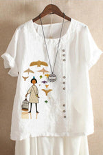 Casual Cartoon Print Short Sleeves Linen T-shirt