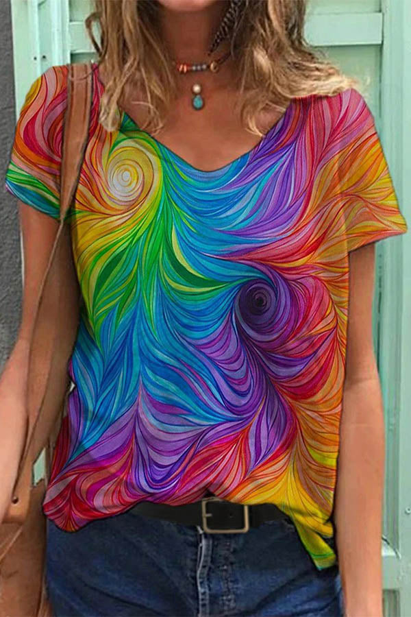 Bohemian Abstract Colorful Floral Gradient Print T-shirt