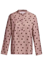 Linen Polka Dots Long Sleeves Blouses