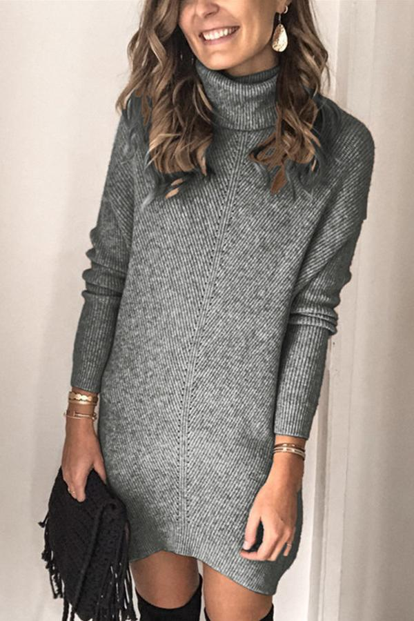Casual Turtleneck Solid Knitted Sweater Dress