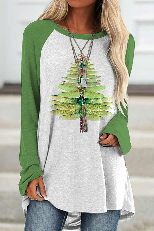 Casual Printed Gradient Dragonfly Made Christmas Tree Color Block Paneled Blouse