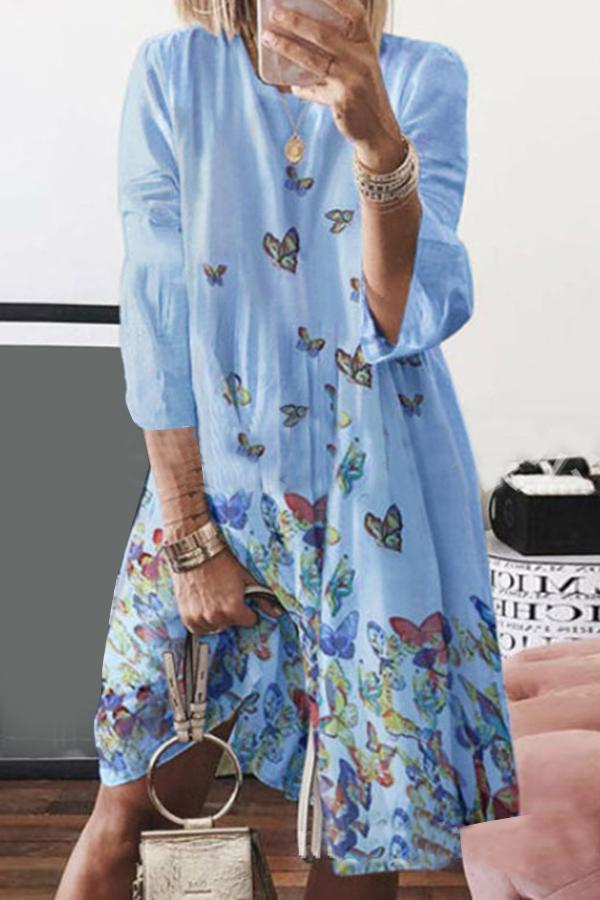 Butterfly Print Long Sleeves Linen Midi Dress