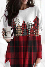 Color-block Christmas Tree With Plaid Pattern Sweety T-shirt