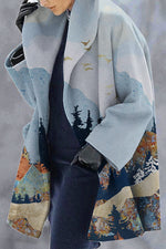 Street Fashion Nature Landscape Forest Mountain Jacquard Lapel Collar Coat