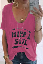 Casual V Neck Letter Loose T Shirt