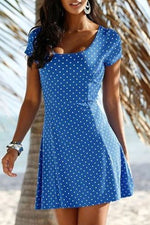 Casual Round Neck Polka Dots Print  Mini Dress