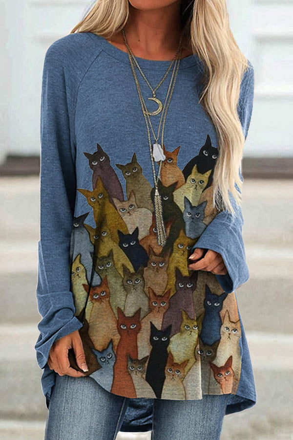 Cartoon Mixed Colors Cat Print Casual Paneled T-shirt