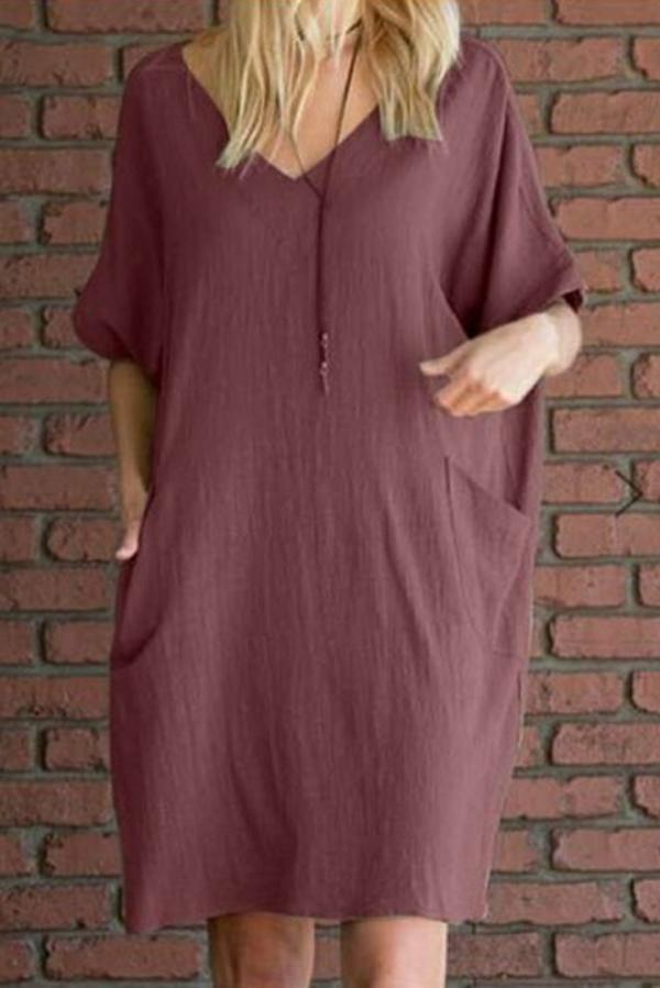 Linen V Neck Side Pockets Loose Midi Dress