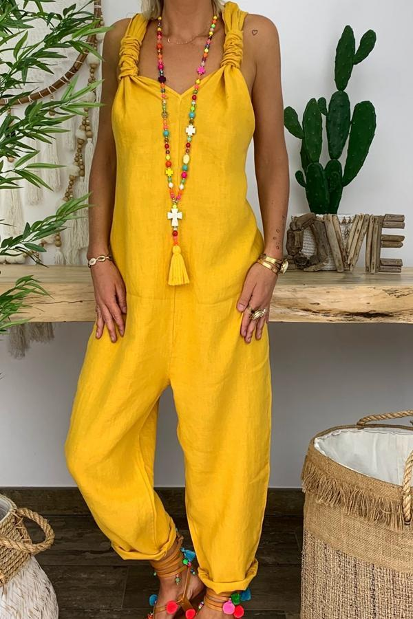 Solid Twist Backless Casual  Jumpsuit