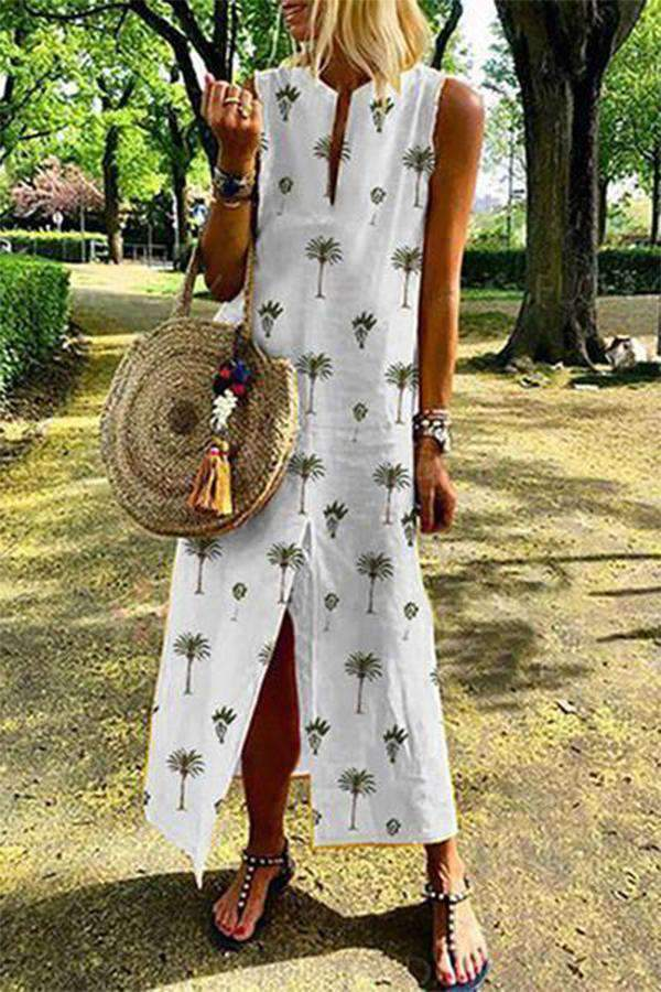 Elegant Sleeveless Printed Colour Round Neck Dress