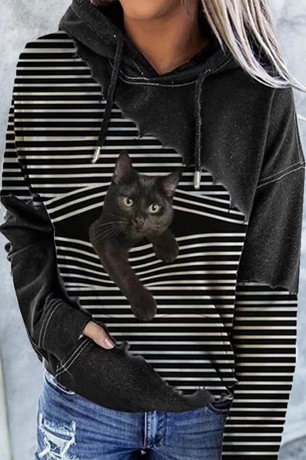 Holiday Black Cat Print Patchwork Striped Pocket Drawstring Hoodie