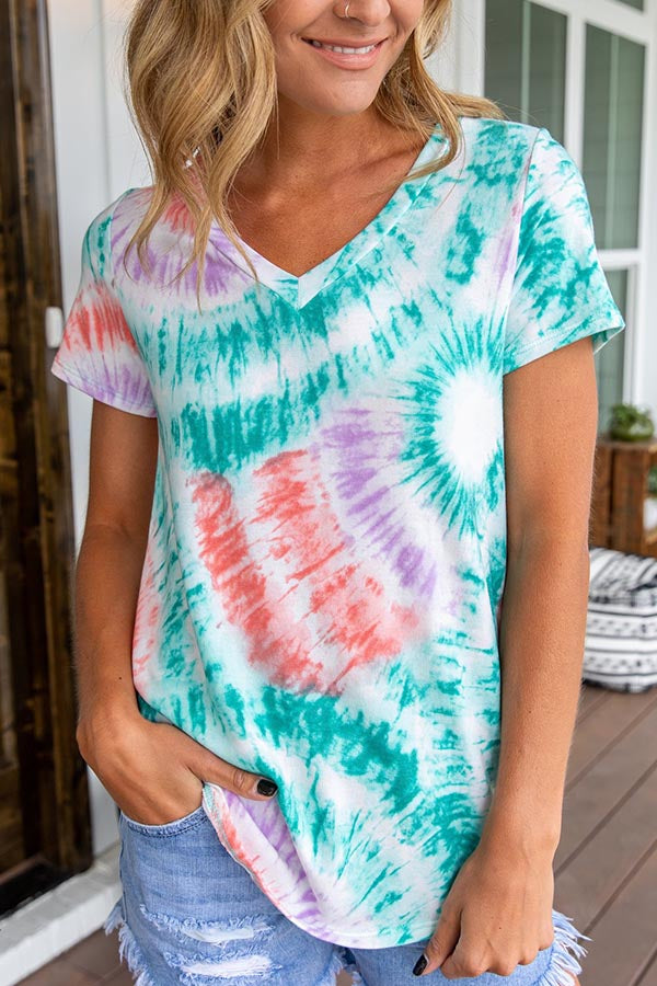 V-neck Gradient Print Paneled Casual Short Sleeves T-shirt