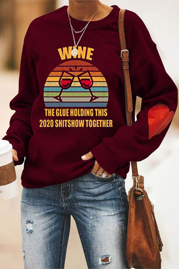 Red Wine Glass Cheers Rainbow Color Striped Print Casual Sweatshirt