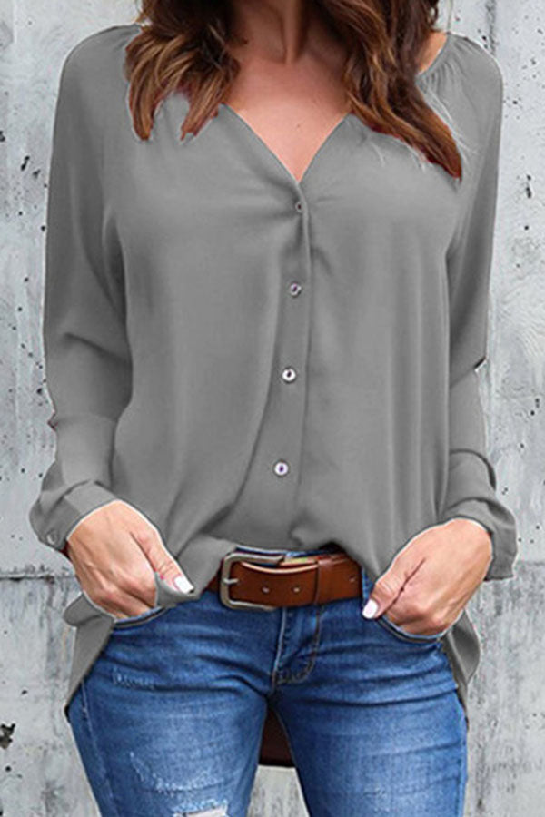 Casual V Neck Solid Buttons Blouse