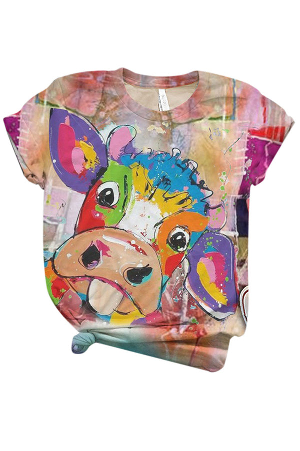 Colorful Cartoon Cow Print Paneled Short Sleeves Casual T-shirt