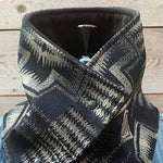 Vintage Women AZTEC Gradient Jacquard Knitted Buttoned Bib Scarf