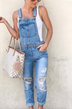 Denim Casual Solid Paneled Pockets Sleeveless Cutout Jumpsuit