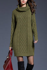 Turtleneck Long Sleeves Solid Sweater Dress