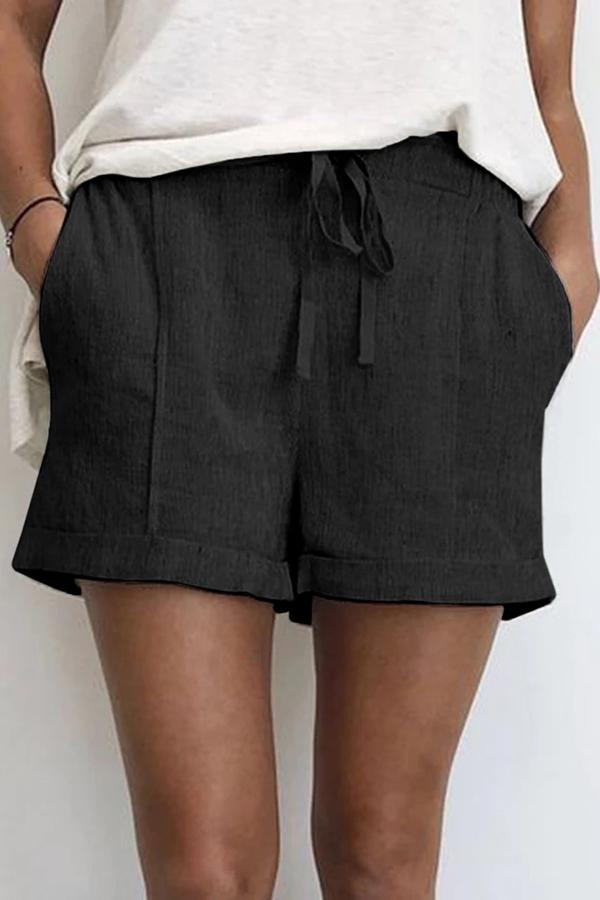 Solid Linen High Waist Short Pants