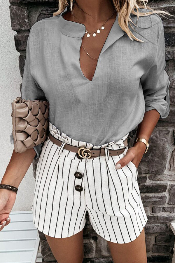 Casual Solid Paneled V-neck Long Sleeves Blouse