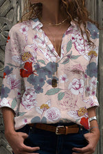 Vintage Floral Print Paneled Buttoned Shirt Collar Blouse