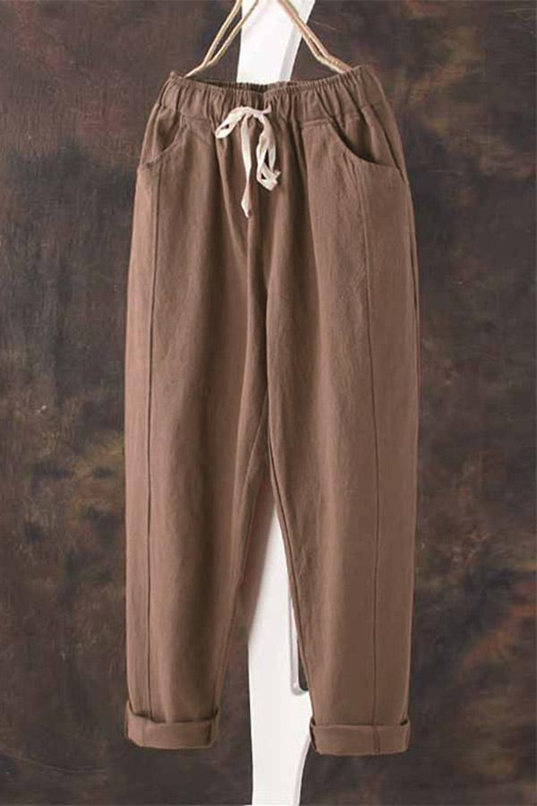 Linen Self-tie Solid Pocket Pants