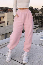 Fall Winter Solid Elastic Waist Paneled Pockets Foot-binding Casual Pants