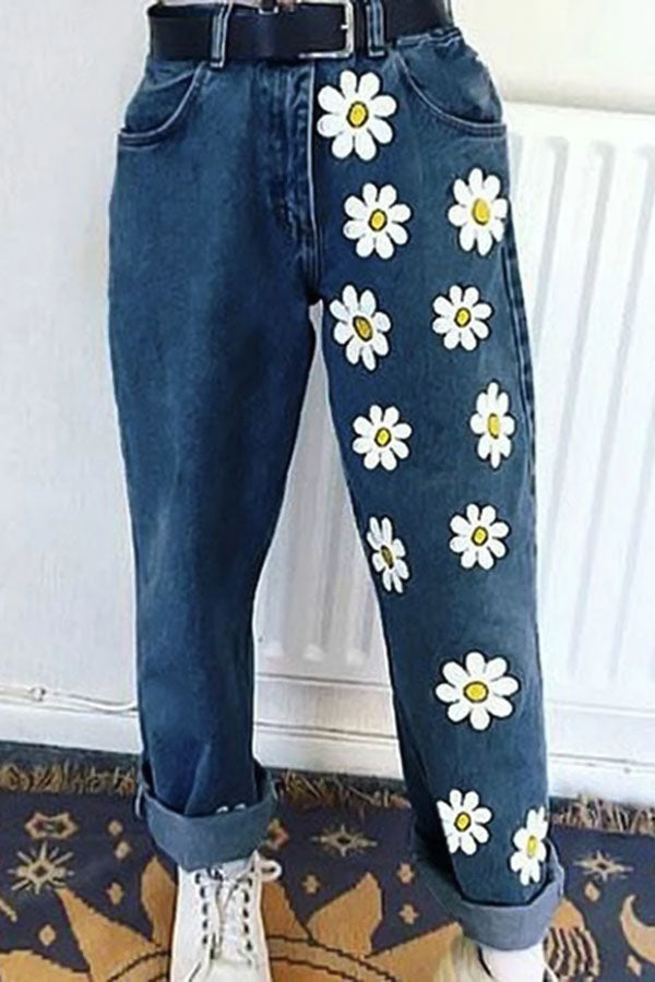 Floral Print Side Pockets Paneled Casual Jeans