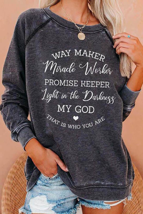 Way Maker Letter Print Paneled Raglan Sleeves Daytime T-shirt