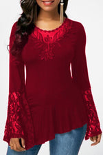 Casual Round Lace Irregular T Shirt