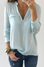 Solid V-neck Paneled Pleated Casual T-shirt