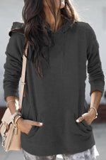 Casual Solid Paneled Side Pocket Drawstring Hoodie