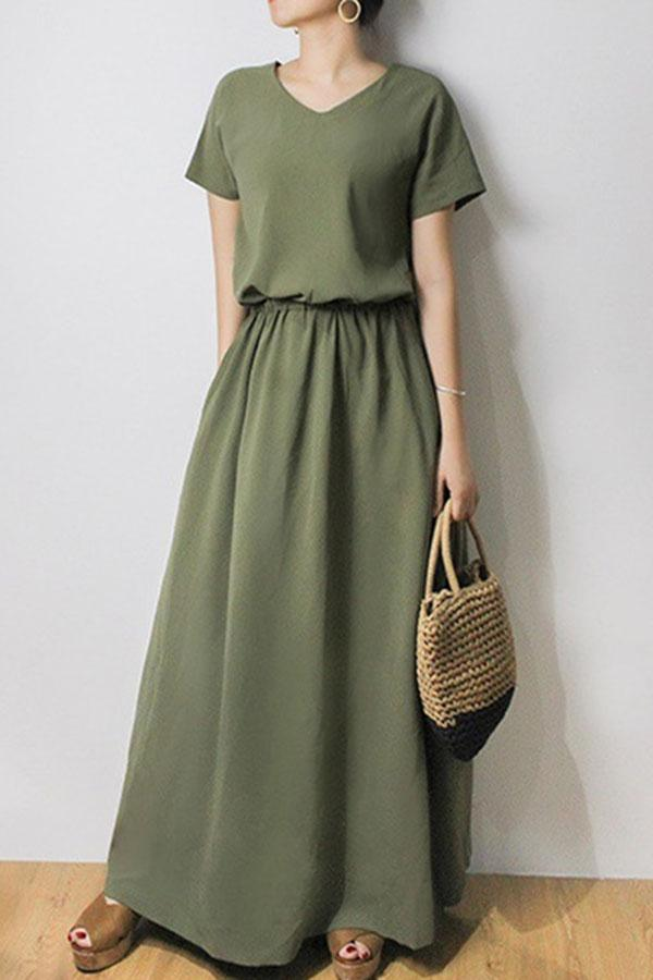 Solid Drawstring A-line Short Sleeves Maxi Dress