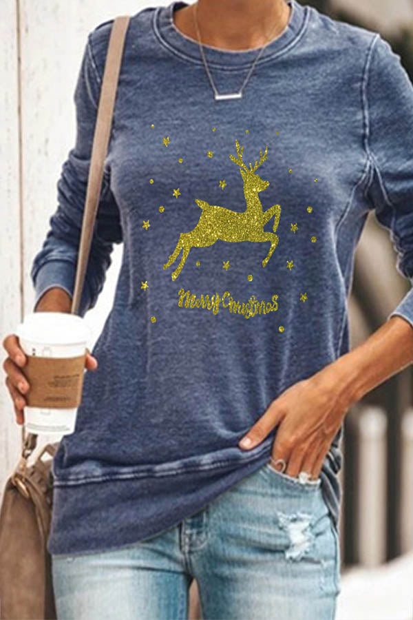 Yellow Shining Elk Star Merry Christmas Letter Print T-shirt