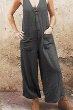 Casual Button Front Pockets Linen Jumpsuit