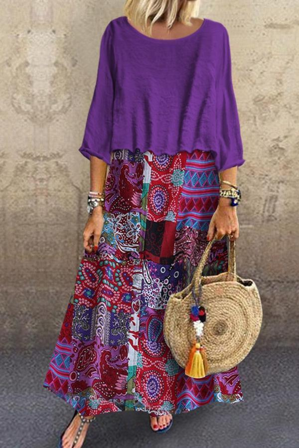 Loose Floral Printed Long Sleeves Maxi Dress