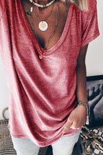 Solid Casual V Neck T Shirt