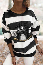 Women Casual Cat With Funny Smile Face Striped Print Sweatshirt